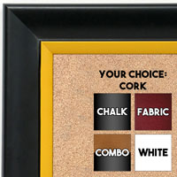 BB1690-2 | Black / Yellow | Custom Cork Bulletin Board | Custom White Dry Erase Board | Custom Chalk Board