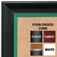 BB1690-5 | Black / Green | Custom Cork Bulletin Board | Custom White Dry Erase Board | Custom Chalk Board