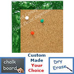 BB1691-2 | Glossy Green / Design | Custom Cork Bulletin Board | Custom White Dry Erase Board | Custom Chalk Board