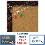 BB1691-5 | Glossy Chocolate / Design | Custom Cork Bulletin Board | Custom White Dry Erase Board | Custom Chalk Board
