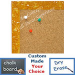 BB1691-6 | Glossy Mustard / Design | Custom Cork Bulletin Board | Custom White Dry Erase Board | Custom Chalk Board