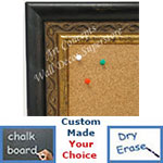 BB1697-1 | Distressed Black / Gold | Custom Cork Bulletin Board | Custom White Dry Erase Board | Custom Chalk Board