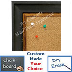 BB1706-1 | Distressed Black Scoop Moulding | Custom Cork Bulletin Board | Custom White Dry Erase Board | Custom Chalk Board