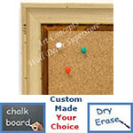 BB1706-2 | Distressed White Scoop Moulding | Custom Cork Bulletin Board | Custom White Dry Erase Board | Custom Chalk Board