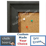 BB1707-1 | Distressed Black Scoop Moulding | Custom Cork Bulletin Board | Custom White Dry Erase Board | Custom Chalk Board