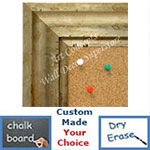 BB1707-4 | Distressed Silver Scoop Moulding | Custom Cork Bulletin Board | Custom White Dry Erase Board | Custom Chalk Board