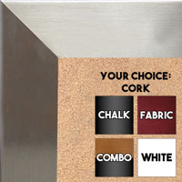 BB1708-2 | Stainless Steel Look - Mica Finish - Moulding | Custom Cork Bulletin Board | Custom White Dry Erase Board | Custom Chalk Board