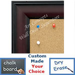 BB1712-1 | Mahogany Scoop Moulding | Custom Cork Bulletin Board | Custom White Dry Erase Board | Custom Chalk Board