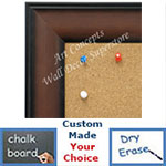 BB1712-2 | Walnut Scoop Moulding | Custom Cork Bulletin Board | Custom White Dry Erase Board | Custom Chalk Board