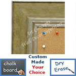 BB1719-2 | Distressed Green / Silver | Custom Cork Bulletin Board | Custom White Dry Erase Board | Custom Chalk Board