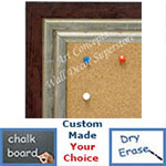 BB1721-3 | Distressed Red / Silver | Custom Cork Bulletin Board | Custom White Dry Erase Board | Custom Chalk Board