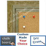 BB1721-4 | Distressed Green / Silver | Custom Cork Bulletin Board | Custom White Dry Erase Board | Custom Chalk Board