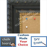 BB1731-1 | Distressed Black with Gold | Custom Cork Bulletin Board | Custom White Dry Erase Board | Custom Chalk Board