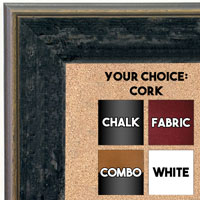BB1734-6 | Distressed Black Granite | Custom Cork Bulletin Board | Custom White Dry Erase Board | Custom Chalk Board