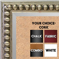 BB1747-1 | Distressed - Silver Leaf Beads | Custom Cork Bulletin Board | Custom White Dry Erase Board | Custom Chalk Board