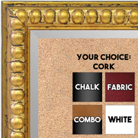 BB1747-3 | Distressed - Gold Leaf Beads | Custom Cork Bulletin Board | Custom White Dry Erase Board | Custom Chalk Board