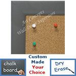 BB1764-4 | Brushed Gray Pewter / Aluminum Frame | Custom Cork Bulletin Board | Custom White Dry Erase Board | Custom Chalk Board