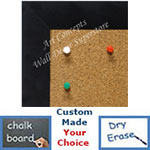 BB1764-6 | Brushed Satin Black / Aluminum Frame | Custom Cork Bulletin Board | Custom White Dry Erase Board | Custom Chalk Board