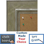 BB1765-2 | Distressed Green / Silver | Custom Cork Bulletin Board | Custom White Dry Erase Board | Custom Chalk Board
