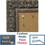 BB1769-2 | Silver Leaf / Ornate | Custom Cork Bulletin Board | Custom White Dry Erase Board | Custom Chalk Board