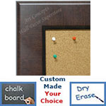 BB1776-1 | Walnut | Custom Cork Bulletin Board | Custom White Dry Erase Board | Custom Chalk Board