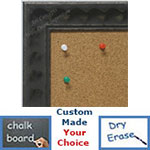 BB1780-3 | Distressed Iron / Design | Custom Cork Bulletin Board | Custom White Dry Erase Board | Custom Chalk Board