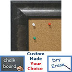BB1782-3 | Distressed Dark Olive | Custom Cork Bulletin Board | Custom White Dry Erase Board | Custom Chalk Board
