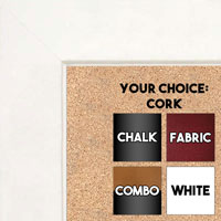 "BB1845-8 Classic White 1 3/4"" Wide Value Price Medium To Extra Large Custom Cork Chalk Or Dry Erase Board"