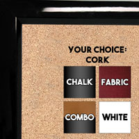 BB311-1 High Gloss Black Lacquer Small Custom Cork Chalk or Dry Erase Board