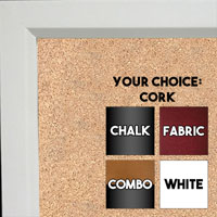 BB311-2 High Gloss White Lacquer Small Custom Cork Chalk or Dry Erase Board