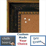 BB5206-2 Aged Distressed Chocolate Black With Antique Gold Trim Medium To Extra Large Custom Cork Chalk Or Dry Erase Board
