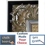 BB5233-2 Ornate Silver Leaf With Black Trim Custom Cork Chalk or Dry Erase Board Medium To Extra Large