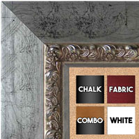 BB5234-2 Distressed Silver Leaf-With Black Accents Custom Cork Chalk or Dry Erase Board Medium To Extra Large