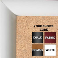 BB65-1 Satin White Quarter Moon Shape Custom Cork Chalk or Dry Erase Board Medium To Large