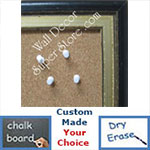 BB73-1 Distressed Black With Distressed Silver Custom Cork Chalk or Dry Erase Board Medium To Extra Large