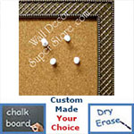 BB86-2 Antique Silver Thatched Design Small To Medium Custom Cork Chalk or Dry Erase Board