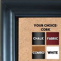 BB97-1 Satin Black Outside Slope Custom Cork Chalk or Dry Erase Board Medium To Extra Large