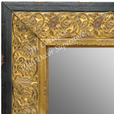 Mr1648 2 Distressed Black And Gold Ornate Extra Large Custom Framed Wall Mirror Leaning Floor Mirrors Bathroom Mirror