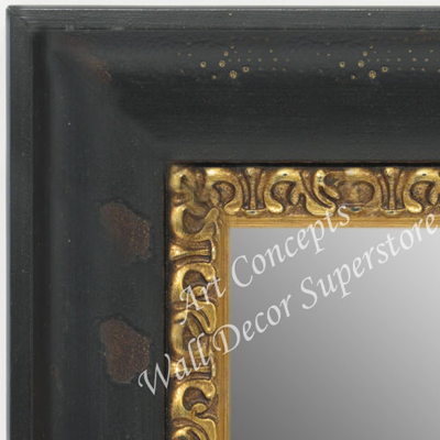 Mr1732 1 Dark Black Espresso With Large Gold Accent Extra Large Custom Wall Mirror Custom Floor Mirror