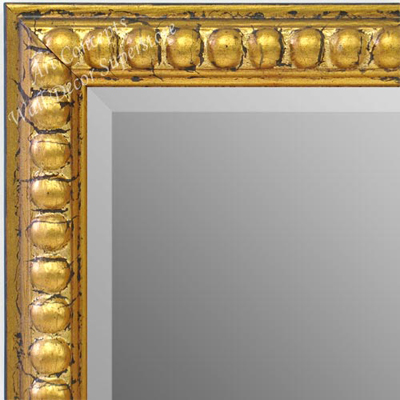 Mr1747 3 Distressed Gold Leaf Beads Custom Wall Mirror Decorative Framed Mirrors