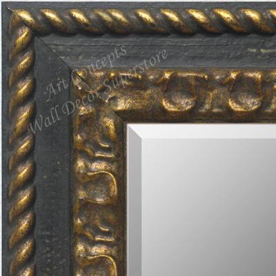Mr1801 1 Distressed Black Gold Custom Wall Mirror Decorative Framed