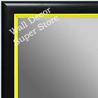 MR1400-4 Black With Yellow Lip - Small Custom Wall Mirror