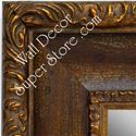 MR1424-2 Distressed Brown Scoop With Gold - Extra Extra Large Custom Wall Mirror Custom Floor Mirror
