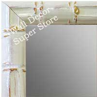 MR1611-2   White Enamel Bamboo Custom Mirror