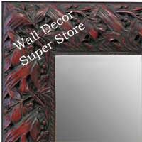 MR1624-3  Black with Red / Design | Custom Wall Mirror