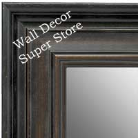 MR1639-1  Distressed Black with Walnut | Custom Wall Mirror