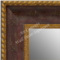 MR1643-1  Distressed Red with Gold | Custom Wall Mirror