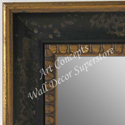 WM5206-2 Aged Black- 3 Panel Raised Top Winged Mirror  -  WMP8
