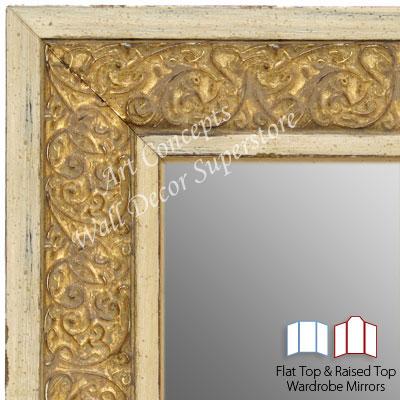 Wm1648 3 Distressed White Gold Custom Three Panel Dressing Room Mirror
