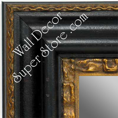 Mr1423 3 Distressed Black With Gold Extra Large Custom Wall Mirror Floor